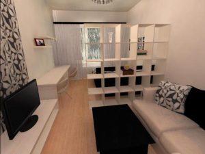 Гипсокартонная конструкция в спальне 18 квадратов легко монтируется и служит долго