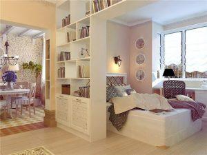 Дизайн придусматривающий зону релакса в одной комнате 18 кважратов с отдельным освещением