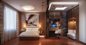 Дизайн рабочей зоны в комнате для отдыха 18 квадратов