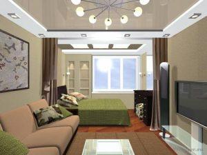 Уютный интерьер помещения 18 кв с зоной отдыха