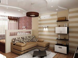 Бежевые нотки в дизайне маленького помещения