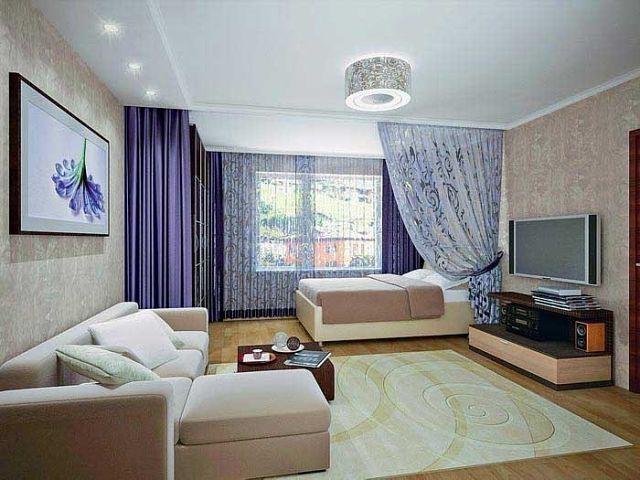 Интерьер комнаты с кроватью и диваном фото