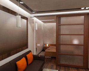 Дверь выдвижная очень хорошо изолирует небольшую зону отдыха в дизайне спальни