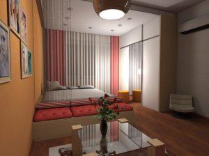 Красивое оформление дизайна в пастельных тонах помещения