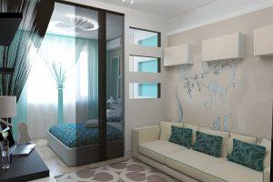 Нежное сочетание цветов в неповторимом дизайне небольшой спальни 18 квадратов