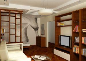 Разделение с помощью мебели в комнате