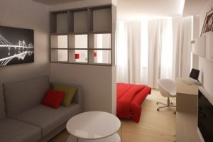 Серая спальня гостиная с яркими акцентами в дизайне 18 квадратов
