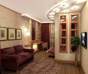 На первый взгляд комната может показаться большой гостинной, но на самом деле это небольшая комнатка 18 квадратов с правильно подобранным дизайном