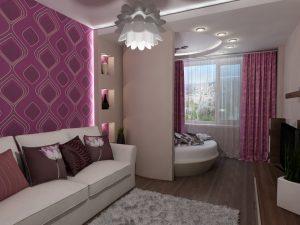 Дизайн спальни в которой условная стена разделает пространство 18 квадратов