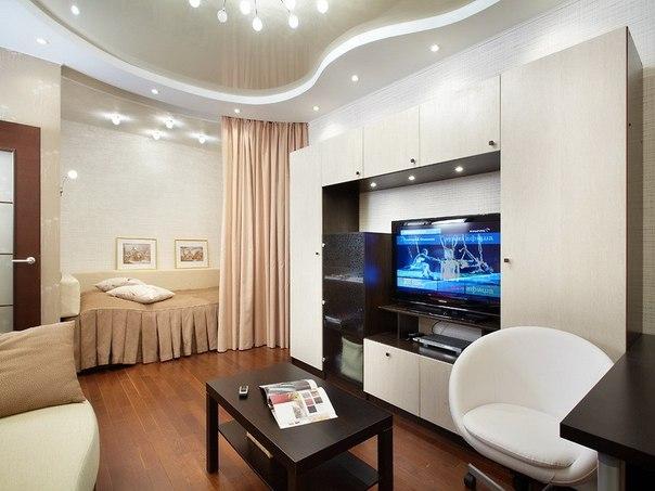 Дизайн спальня совмещенная с гостиной