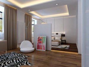 Практичное и простое разделить на две зоны небольшой спальни