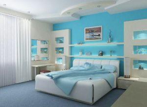 Необычные светильники применены дяля дизайна спальни 9 кв м