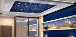 Натяжной потолок в спальню с реалистичным изображением