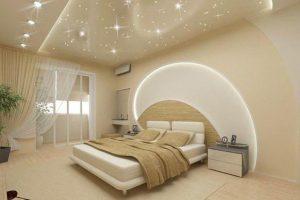 Достоинства покрытий натяжных потолков для спальни