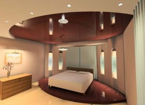 Дву-уровневый натяжной потолок окрашен в коричневый цвет в спальню