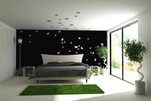 Минимализм в огромной спальне, создаёт ощущение невероятной легкости и воздушности пространства.