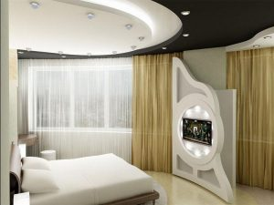 На фото можно увидеть оригинальный подбор светотехники в небольшой спальне