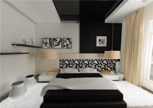 Применение чёрного цвета во краске натяжного потолка для спальни