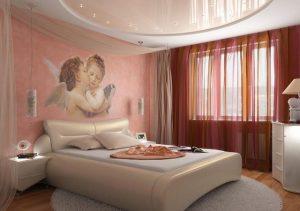Фото красивого натяжного потолка для спальни