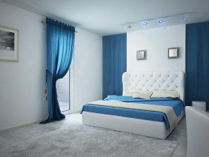 Ремонт спальни 12 кв м фото синего цвета