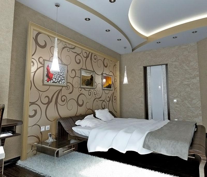 Дизайн потолка в спальне из гипсокартона