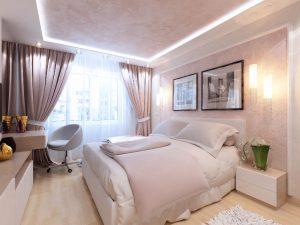 Спокойные оттенки в спальне