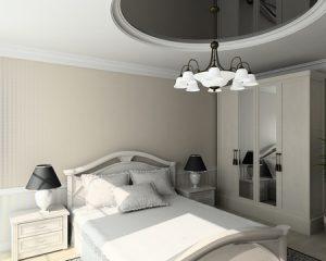Сдержанный стиль потолка для черно-белой комнате сна