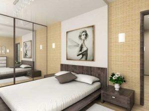 сочетание зеркала и картины в дизайне небольшой спальной команты 9квадратов