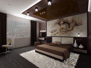 Использование фотообоев спальне 12 квадратов