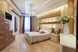 Натяжные потолки в интерьере для спален