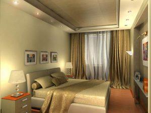 Оливковая спальня в сочетании с натяжным потолков, достаточно смелое решение