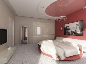 Овальный натяжной потолок для спальни