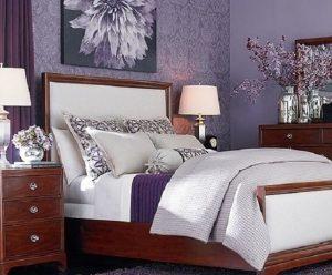 Сиреневый интерьер спальни 12 кв м