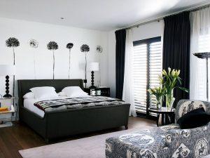 Спальня в черно-белом цвете 12 м кв