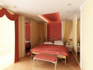 Удачный пример ремонта спальни с применением терракотового цвета