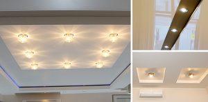 Применение точечных светильников для натяжных потолков