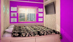 Фиолетовый цвет в оформлении спального помещения