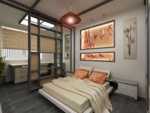 Отличный пример зонирование в спальне 12 кв м