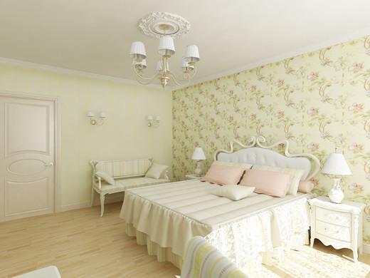 Обои для спальни в пастельных тонах