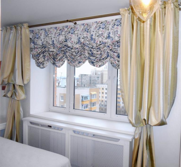 Занавески с карнизом в тон со спальней