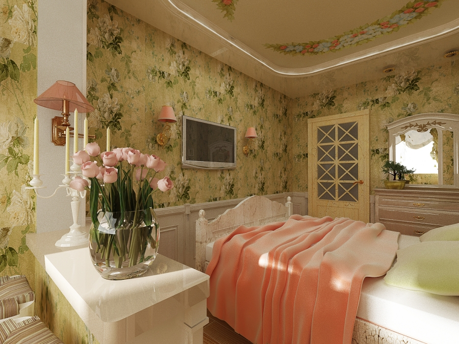 Зеленые насыщенные обои для спальни