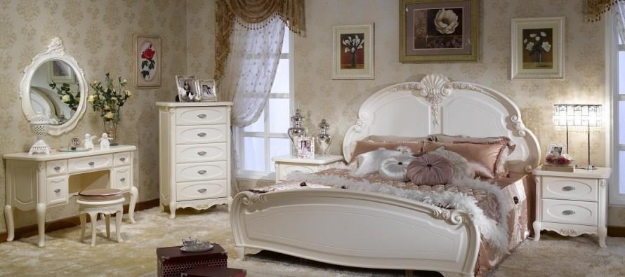 Стены в спальне с стилем прованс