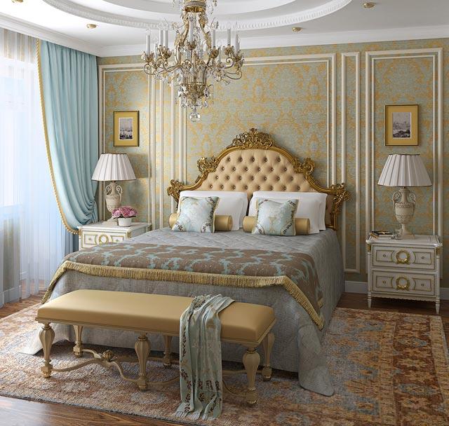 Роскошный интерьер классической спальни