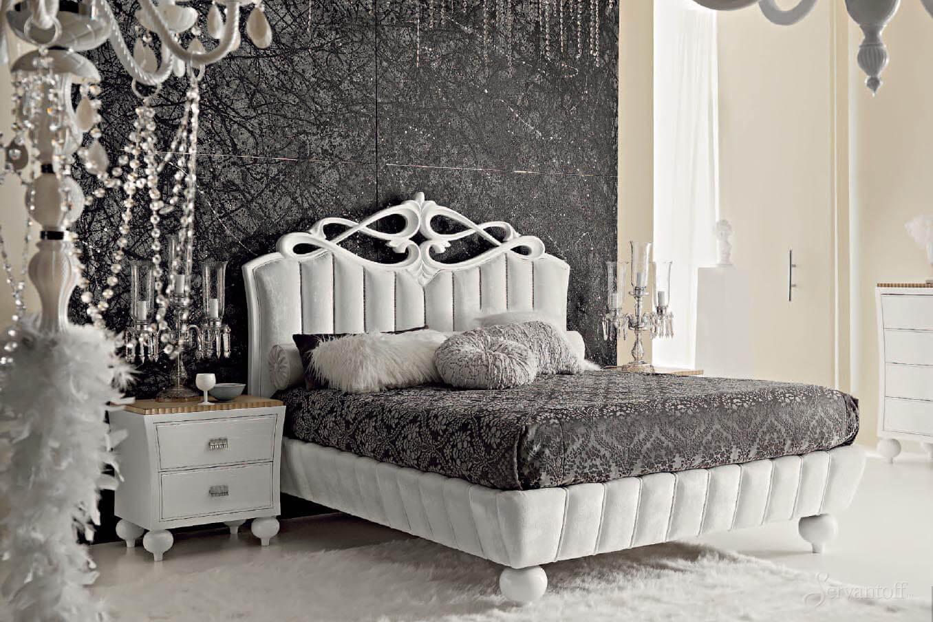 Сочетание серого с белым в интерьере спальни