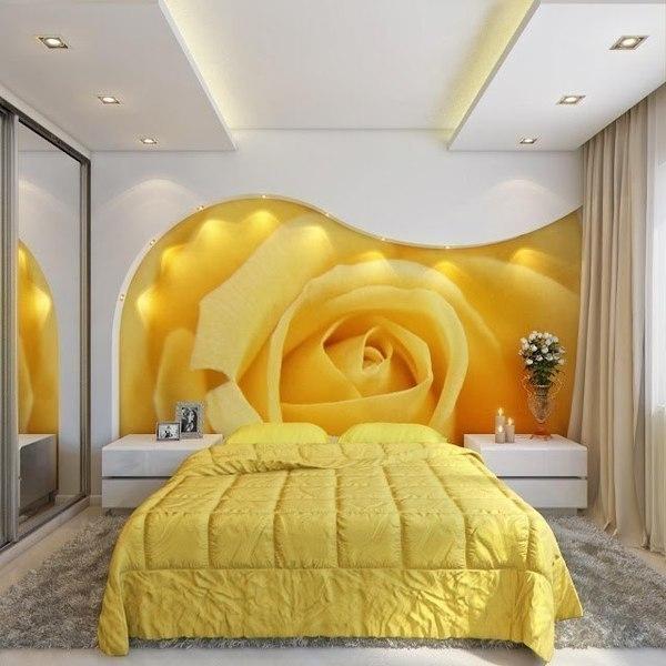 Обои для спальни в желтых тонах