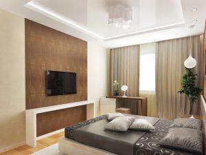 Интерьер спальни с глянцевым потолком
