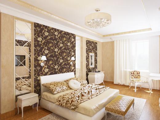 Спальня с акцентом на стене