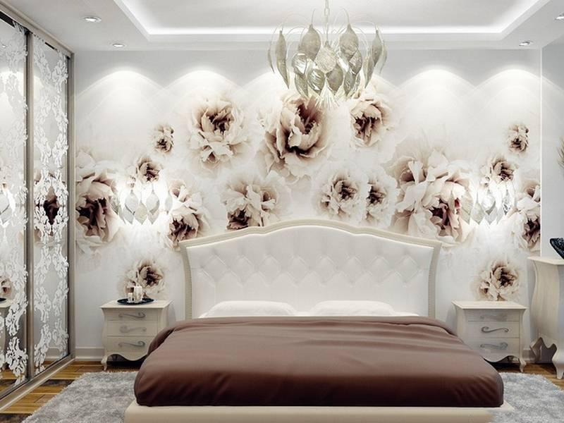 Гармония обоев с интерьером спальни