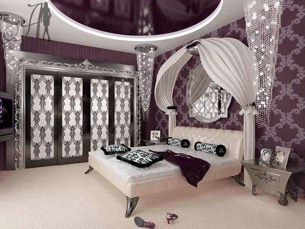 Спальня в мягких бордовых оттенках
