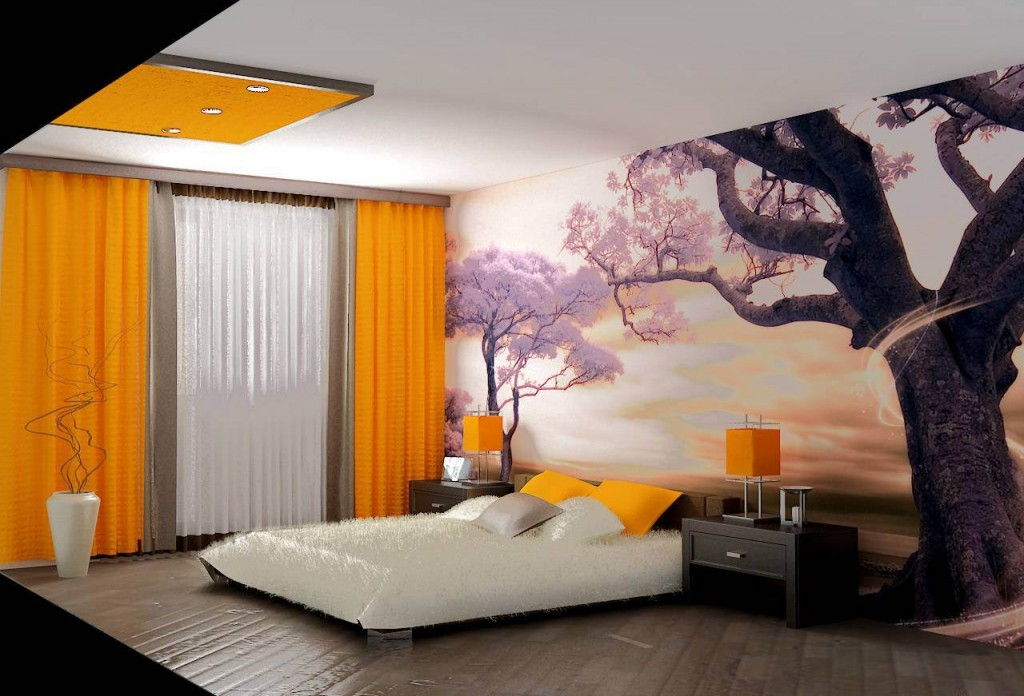 Розовое дерево в спальне с желтыми обоями